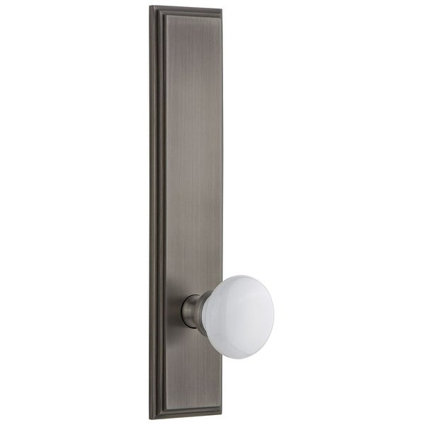 Grandeur CARHYD_TP_PSG_238_RH Carre Solid Brass Tall Plate Rose Right Handed Passage Door Knob Set with Hyde Park Knob and
