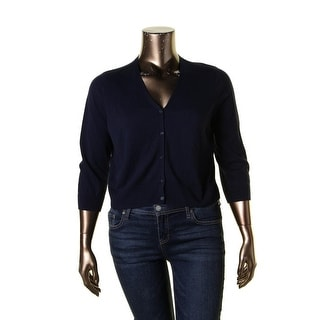 Lauren Ralph Lauren Womens Petites Cardigan Sweater Button Down Ribbed Trim