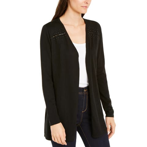 INC International Concepts Women's Chain-Detail Completer Sweater Black Size Large