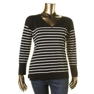 Calvin Klein Womens Striped V-Neck Pullover Sweater