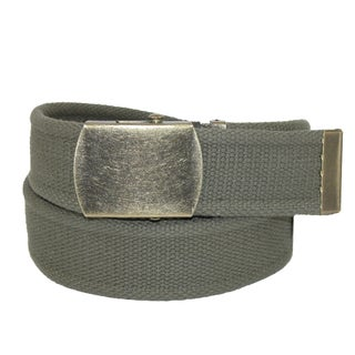 CTM® Women's Cotton 1.5 Inch Belt with Vintage Military Buckle