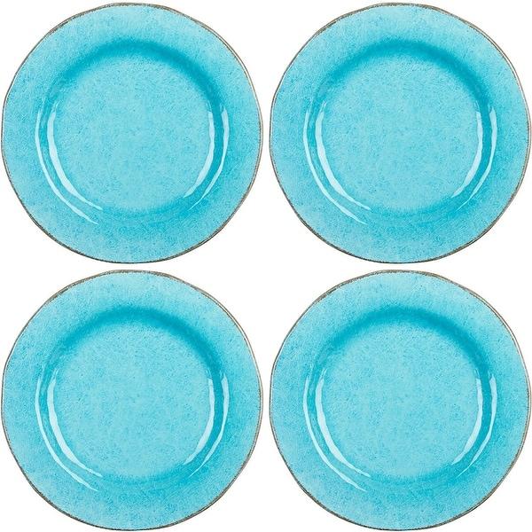 Tag Veranda Set of 4 Melamine Ocean Blue Dinner Plates  sc 1 st  Overstock & Tag Veranda Set of 4 Melamine Ocean Blue Dinner Plates - Free ...