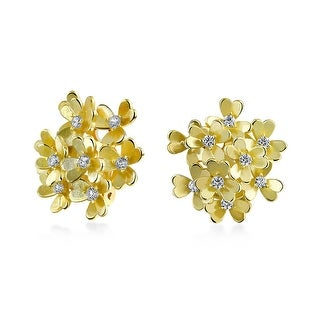 Bling Jewelry Matte Gold Plated Brass CZ Flower Cluster Clip On Earrings