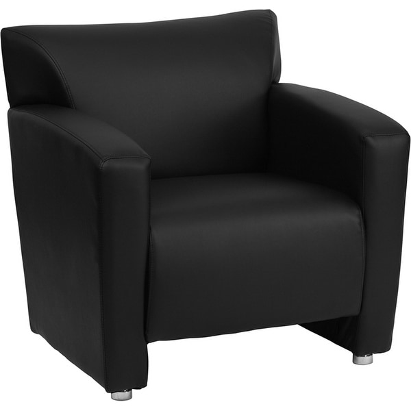 monroe black leather office comfortable reception guest chair fl5015