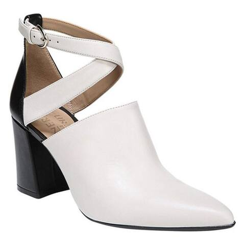 Naturalizer Women's Holland Ankle Strap Heel White/Black Leather/Polyurethane