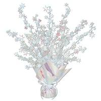 "Club Pack of 12 Opalescent Star Gleam 'N Burst Centerpiece Party Decorations 15"" - White"