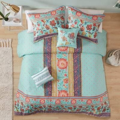 Eliza Aqua Boho Printed Duvet Cover Set by Intelligent Design