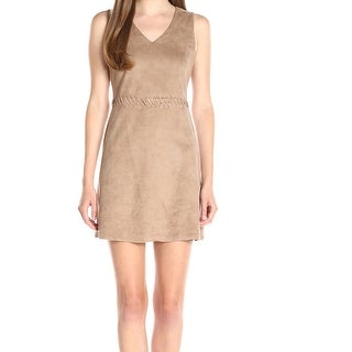 CeCe NEW Beige Womens Size 2 V-Neck Faux-Suede Lace-Up Sheath Dress