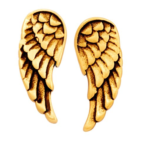 Chrysalis Charmed 14K Gold-Flashed Brass Guardian Angel Earrings - Yellow