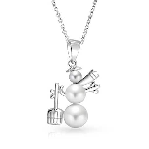 Winter Holiday White Snowman Pendant Imitation Pearl Necklace 16 Inch
