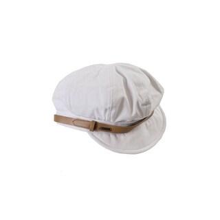 Nine West White Canvas Newsgirl Hat OS