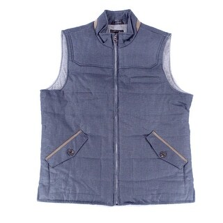Tasso Elba NEW Blue Men's Size XL Vest Mock-Neck Chambray Jacket