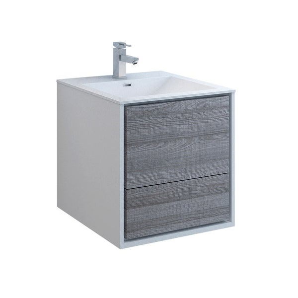 "Fresca FCB9224-I Senza 24"" Wall Mounted Single Basin Vanity Set with MDF Cabinet and Acrylic Vanity Top"