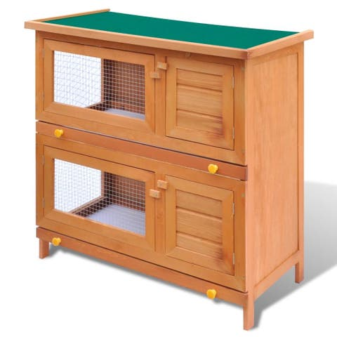 vidaXL Wooden Rabbit Hutch 4 Doors Bunny Cage Animal House Hen Poultry Cage