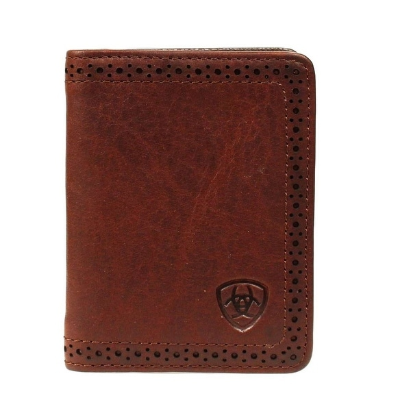 Ariat Western Wallet Mens Leather Bifold Perforated Copper - One size