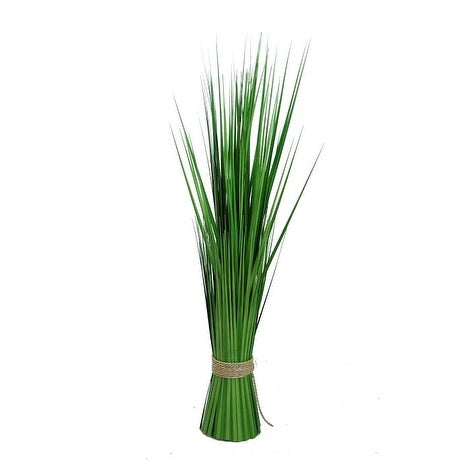 """30.25"""" Green Artificial Onion Grass Bundle Wrapped with Decorative Tan Rope"""
