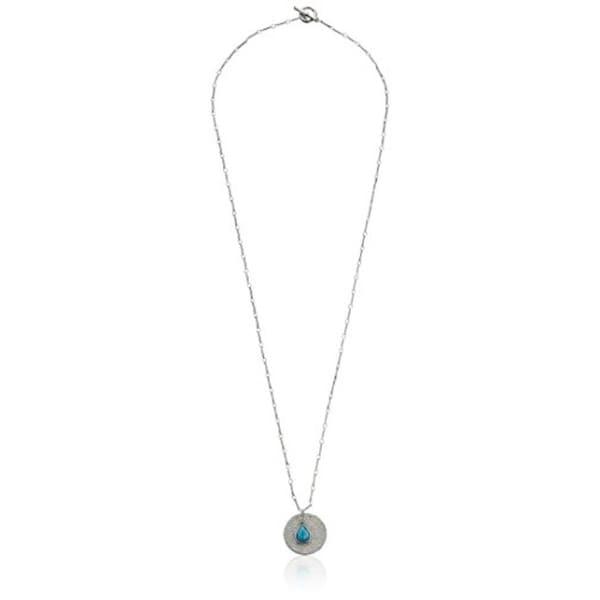 Karen Kane Womens Tropicali Pendant Necklace Aqua Polki Stone - Silver/Aqua