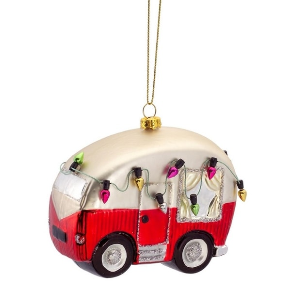 Pack of 6 Red and White Vintage RV with Lights Glass Christmas Ornaments 2.5""