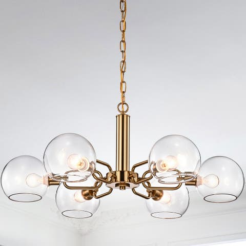 Vittali Gold Clear Glass Branched Globe Shade 6-Light Chandelier