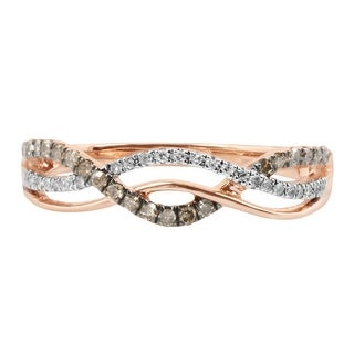 Twisted Half Eternity Anniversary Ring With Round Brilliant Cut Natural Brown & White Diamond - Whit