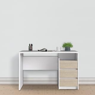 Link to Porch & Den Skylar White and Oak 3-drawer Rectangular Desk Similar Items in Computer Desks