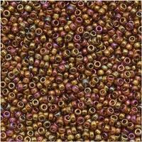 Toho Round Seed Beads 15/0 459 'Gold Lustered Dark Topaz' 8 Gram Tube
