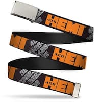 Blank Chrome Bo Buckle Hemi 426 Logo 392 426 Black Orange Silver Fade Web Belt