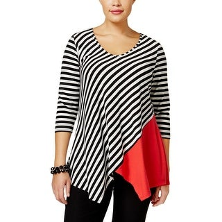 NY Collection Womens Plus Casual Top Color Block Striped