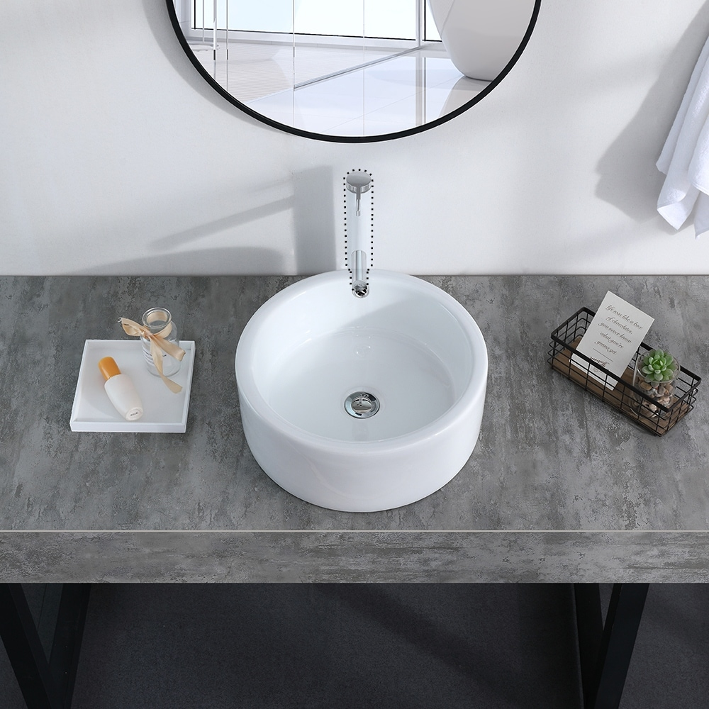 Counter Round Ceramic Vessel Vanity Sink With Pop Up Drain Stopper On Sale Overstock 32229358
