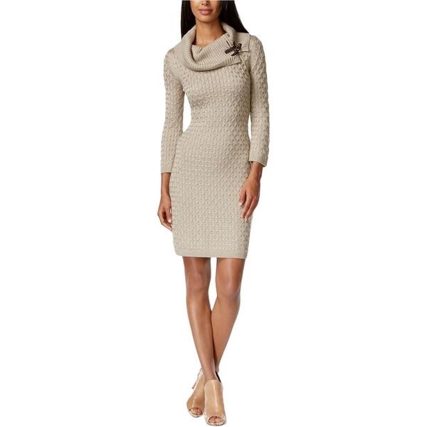 Calvin Klein Womens Sweaterdress Textured Cowl-Neck