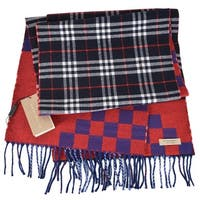 """Burberry Reversible Graphic and Nova Check Wool Cashmere Scarf Muffler - 70.9"""" x 11.8"""""""
