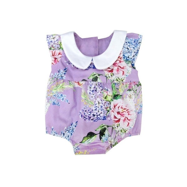 93eceba26 Shop Sophie Catalou Baby Girls Wisteria Peter Pan Collar Floral Bubble  Romper - Free Shipping On Orders Over $45 - Overstock - 19294610