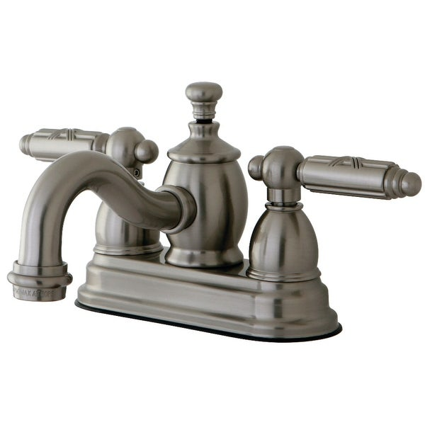 Kingston Brass KS710.GL Georgian 1.2 GPM Centerset Bathroom Faucet with Pop-Up Drain Assembly and Metal Handles