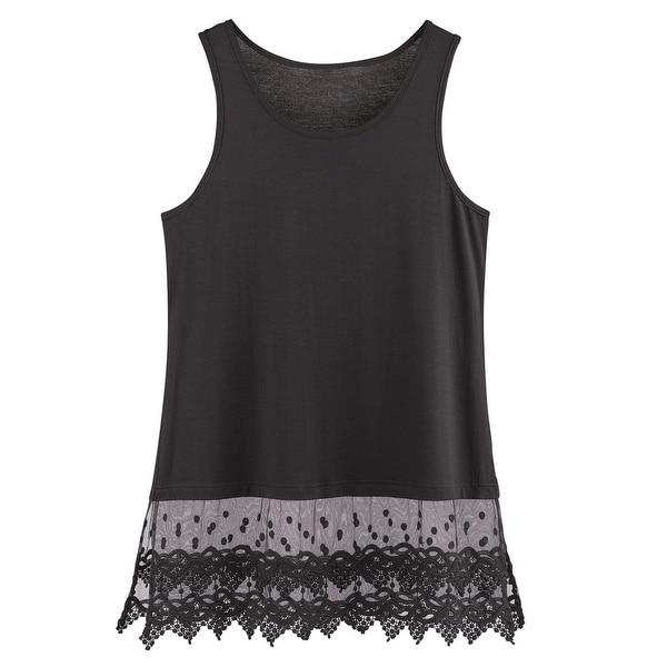 f7523bd84f7 Women  x27 s Lace Trim Layering Tunic Tank Top - Extends Shirt Blouse Length