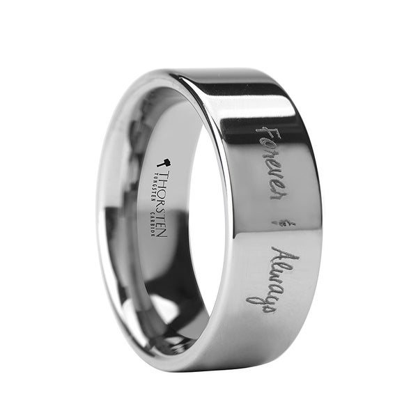 THORSTEN - Handwritten Engraved Flat Pipe Cut Tungsten Ring Polished - 12mm