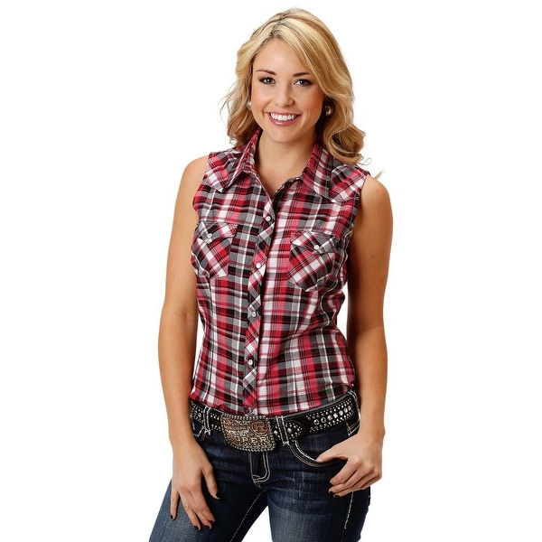 90a02ee3fd192 Shop Roper Western Shirt Womens Sleeveless Snap Black - Free Shipping On  Orders Over  45 - Overstock - 17130120