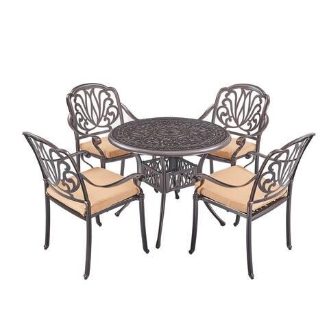 5Pcs Elizabeth Cast Aluminum Garden Furniture Set with Cushions,Bronze