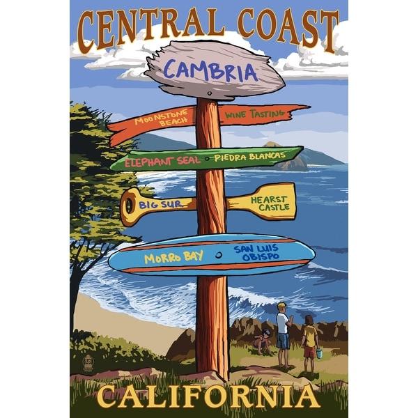 Cambria, CA Central Coast - Dest Sign - LP Artwork (Acrylic Wall Clock)