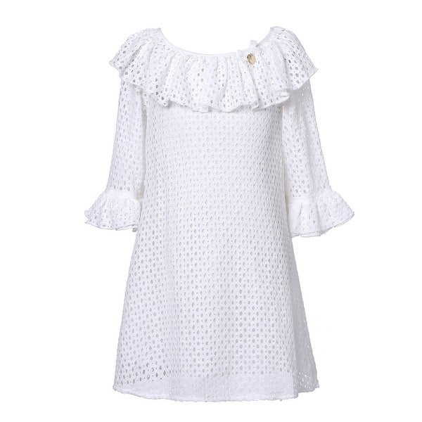 67a82820f2c Shop Richie House Girls White Bow Ruffled Sleeve Neckline Hollow Dress 7-10  - Free Shipping On Orders Over  45 - Overstock - 18163840