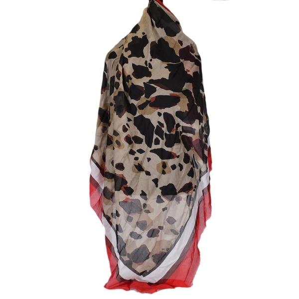 "Burberry Women's Modal Silk Military Red Animal Print Scarf Shawl - 53"" x 53"""