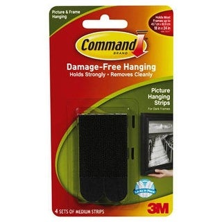 Command Picture Hanging Strips, Medium, Black, 4-Strips (17201BLK-ES)