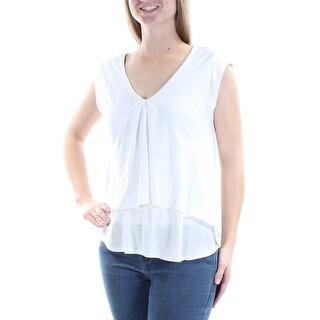 RACHEL ROY $69 Womens New 1302 White Pleated Front V Neck Sleeveless Top M B+B