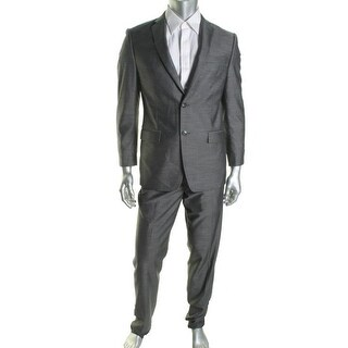 Calvin Klein Mens Slim Fit Linen Blend Two-Button Suit - 40S