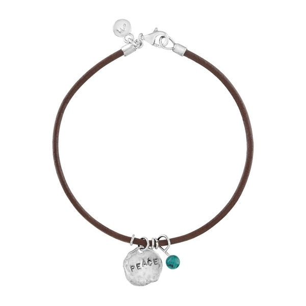 'Peace' Leather Charm Bracelet with Natural Turquoise in Sterling Silver - Green