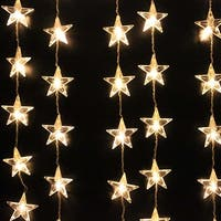 Image 1Mx1.5M 54 LED Star Curtain Lights String Light for Christmas Party Warm White