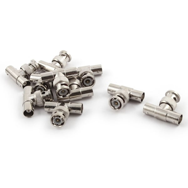 Metal 3 Way BNC Male to 2 Female Socket Coaxial Cable Connector 1.3 Long 10pcs