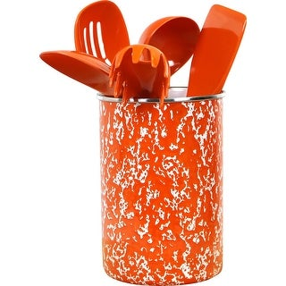 Calypso Basics by Reston Lloyd Enamel on Steel Utensil Holder and 5 Piece Utensil Set, Orange Marble