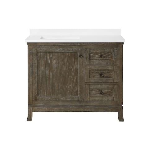 Martha Stewart Meadow 42 in. Vanity from Bedford Collection in Cerused Walnut finish