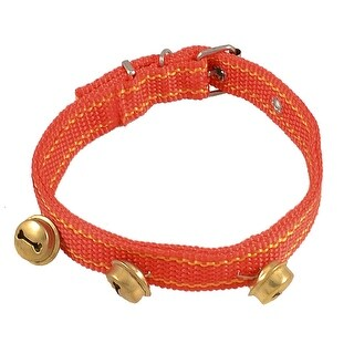 Unique Bargains Pet Dog Single Prong Metal Buckle 3 Bells Red Yellow Nylon Collar Strap