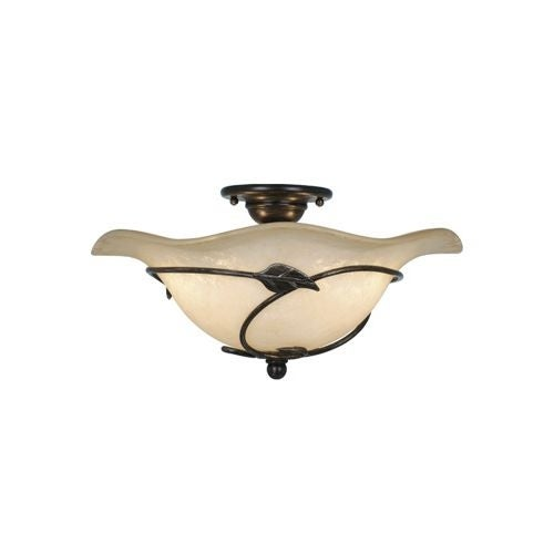 Vaxcel Lighting CF38815 Vine 2 Light Semi-Flush Indoor Ceiling Fixture with Frosted Glass Shade - 15 Inches Wide